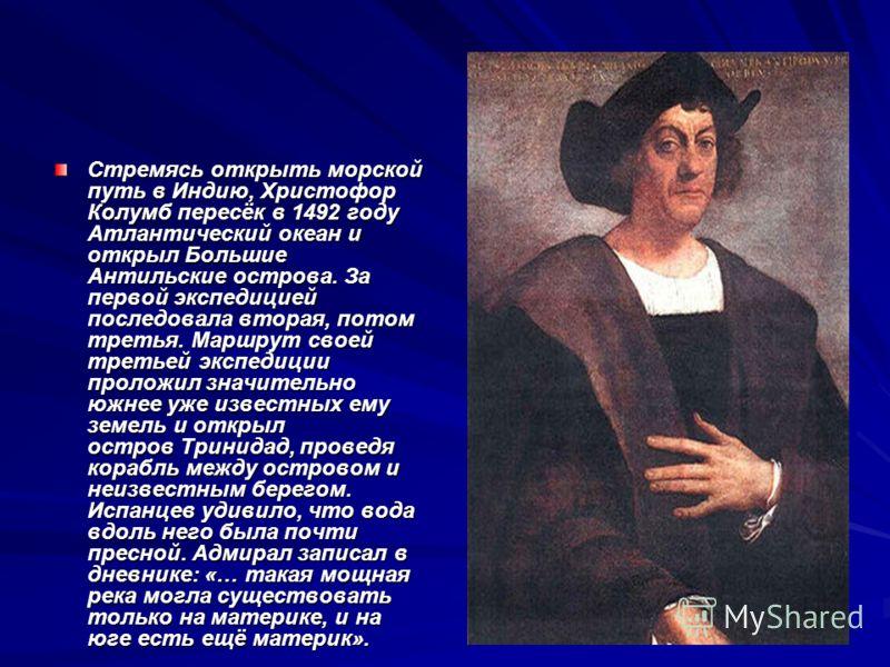Стремясь открыть морской путь в Индию, Христофор Колумб пересёк в 1492 году Атлантический океан и открыл Большие Антильские острова. За первой экспедицией последовала вторая, потом третья. Маршрут своей третьей экспедиции проложил значительно южнее у