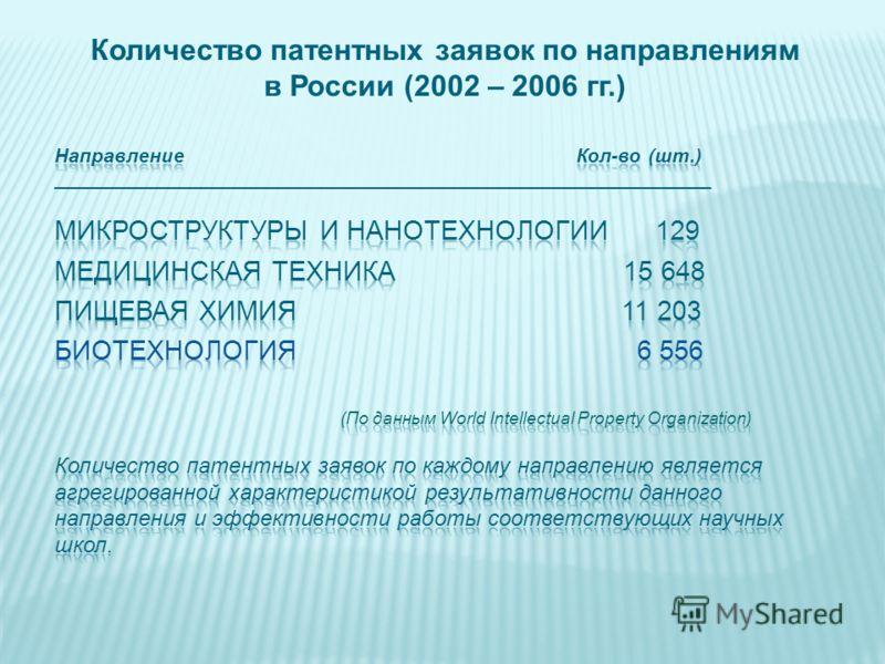 Количество патентных заявок по направлениям в России (2002 – 2006 гг.)