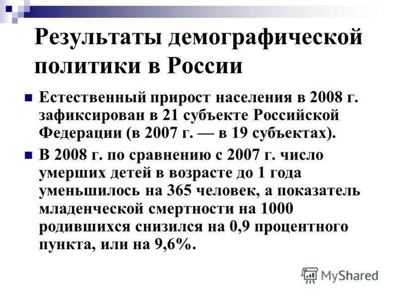 Результаты демографической политики в России Естественный прирост населения в 2008 г. зафиксирован в 21 субъекте Российской Федерации (в 2007 г. в 19 субъектах). В 2008 г. по сравнению с 2007 г. число умерших детей в возрасте до 1 года уменьшилось на