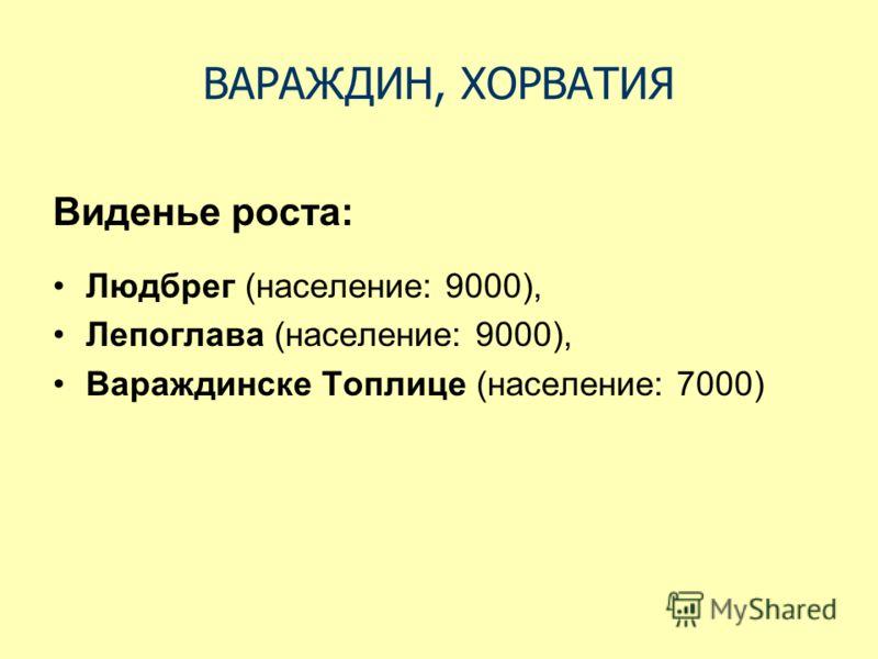 Виденье роста: Людбрег (население: 9000), Лепоглава (население: 9000), Вараждинске Топлице (население: 7000)
