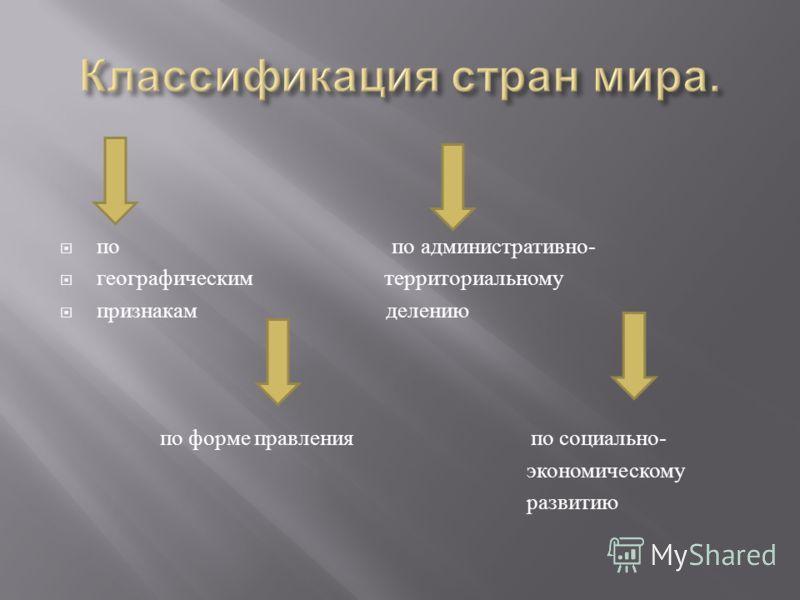 по по административно - географическим территориальному признакам делению по форме правления по социально - экономическому развитию