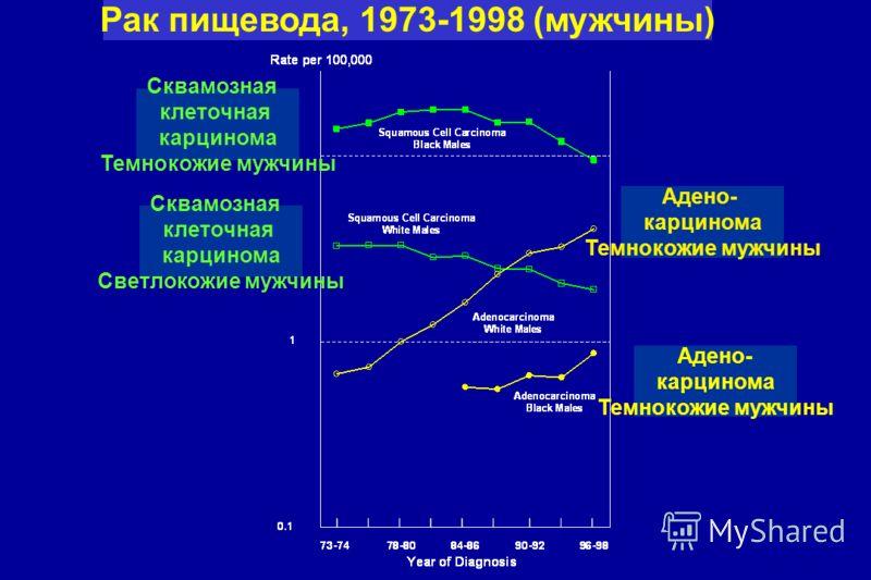 Рак пищевода, 1973-1998 (мужчины) Сквамозная клеточная карцинома Темнокожие мужчины Сквамозная клеточная карцинома Светлокожие мужчины Адено- карцинома Темнокожие мужчины Адено- карцинома Темнокожие мужчины