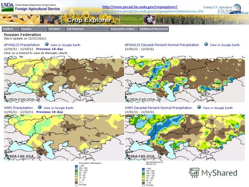 http://www.pecad.fas.usda.gov/cropexplorer/ http://www.pecad.fas.usda.gov/cropexplorer/datasources.cfm