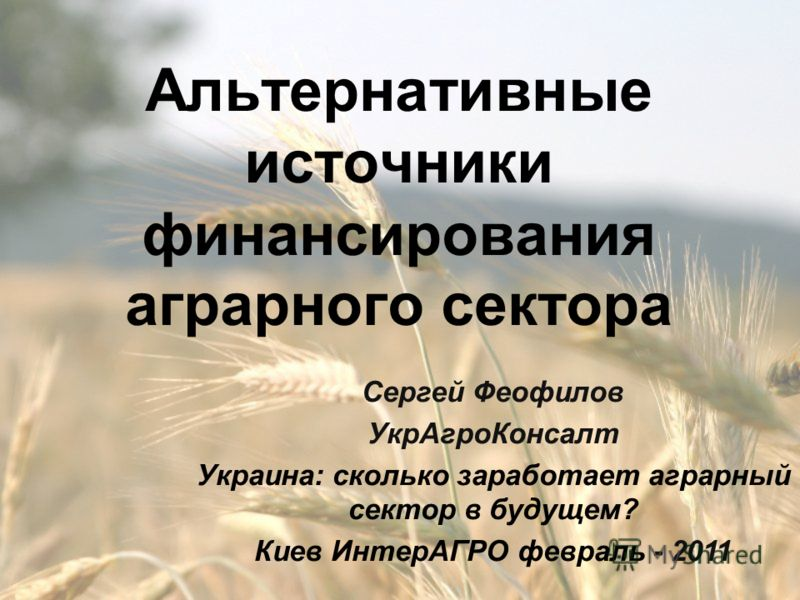 Альтернативные источники финансирования аграрного сектора Сергей Феофилов УкрАгроКонсалт Украина: cколько заработает аграрный сектор в будущем? Киев ИнтерАГРО февраль - 2011