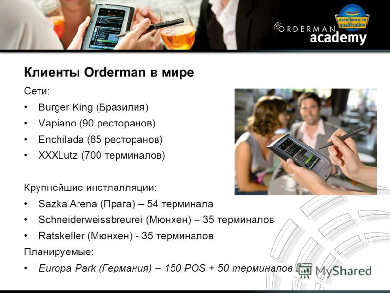 Клиенты Orderman в мире Сети: Burger King (Бразилия) Vapiano (90 ресторанов) Enchilada (85 ресторанов) XXXLutz (700 терминалов) Крупнейшие инстлалляции: Sazka Arena (Прага) – 54 терминала Schneiderweissbreurei (Мюнхен) – 35 терминалов Ratskeller (Мюн