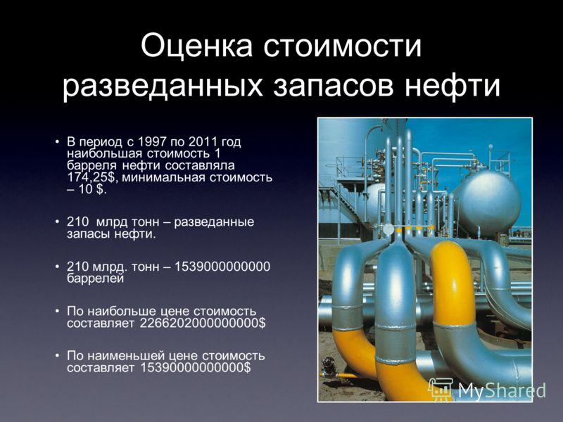Оценка стоимости разведанных запасов нефти В период с 1997 по 2011 год наибольшая стоимость 1 барреля нефти составляла 174,25$, минимальная стоимость – 10 $. 210 млрд тонн – разведанные запасы нефти. 210 млрд. тонн – 1539000000000 баррелей По наиболь