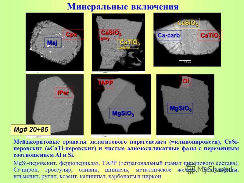 Мейджоритовые гранаты эклогитового парагенезиса (±клинопироксен), CaSi- перовскит (±CaTi-перовскит) и чистые алюмосиликатные фазы с переменным соотношением Al и Si. MgSi-перовскит, ферропериклаз, ТАРР (тетрагональный гранат пиропового состава), Cr-пи