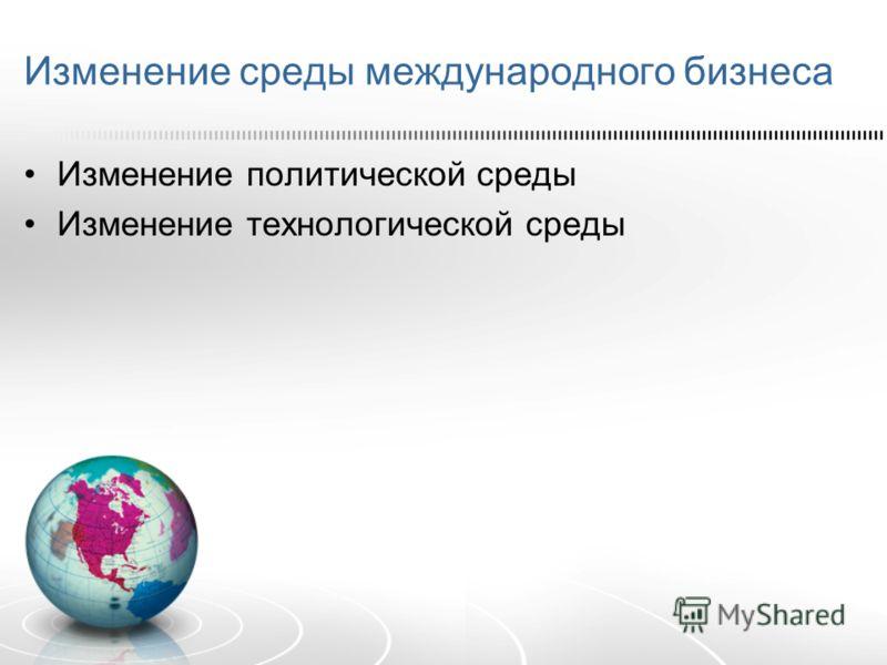 Изменение среды международного бизнеса Изменение политической среды Изменение технологической среды