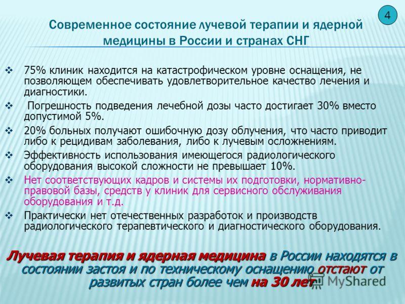СРЕДСТВА ТЕХНИЧЕСКОГО И ТЕХНОЛОГИЧЕСКОГО ОБЕСПЕЧЕНИЯ Относительное число РТЦ, использующих эти средства в Европев России Рентгеновские симуляторы (РС)96%15% Компьютерные томографы (КТ) специально для предлучевой топометрии 90% 2% КТ с частичным досту