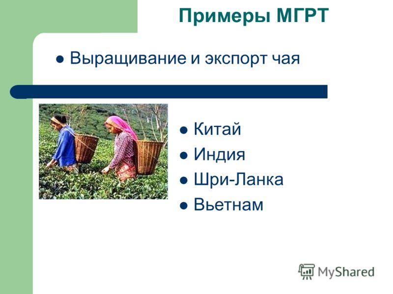 Примеры МГРТ Выращивание и экспорт чая Китай Индия Шри-Ланка Вьетнам