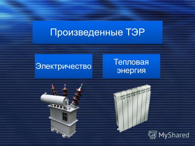 Произведенные ТЭР Электричество Тепловая энергия