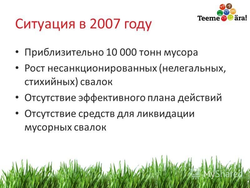 2 Ситуация в 2007 году Приблизительно 10 000 тонн мусора Рост несанкционированных (нелегальных, стихийных) свалок Отсутствие эффективного плана действий Отсутствие средств для ликвидации мусорных свалок