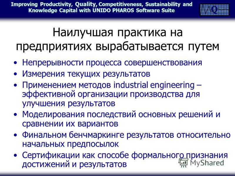Наилучшая практика на предприятиях вырабатывается путем Непрерывности процесса совершенствования Измерения текущих результатов Применением методов industrial engineering – эффективной организации производства для улучшения результатов Моделирования п