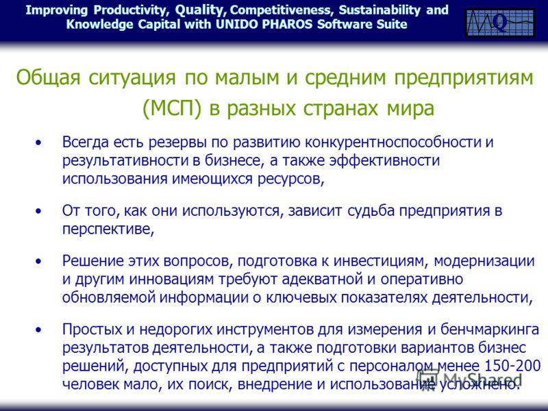Improving Productivity, Quality, Competitiveness, Sustainability and Knowledge Capital with UNIDO PHAROS Software Suite Общая ситуация по малым и средним предприятиям (МСП) в разных странах мира Всегда есть резервы по развитию конкурентноспособности