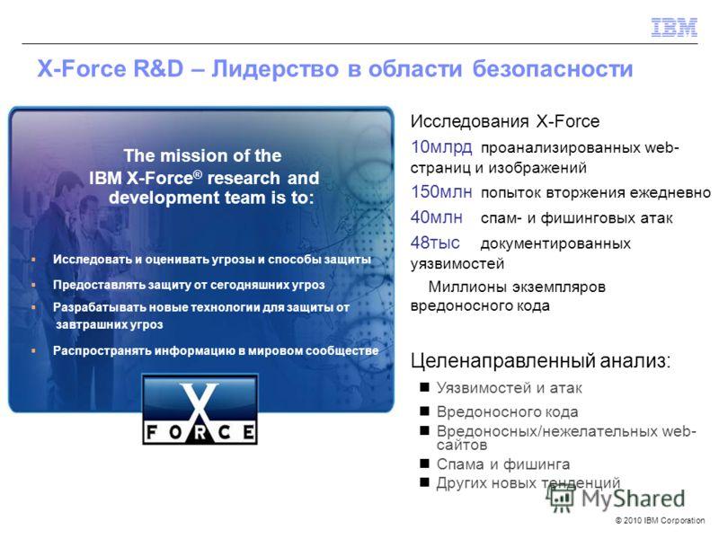 © 2010 IBM Corporation The mission of the IBM X-Force ® research and development team is to: Исследовать и оценивать угрозы и способы защиты Предоставлять защиту от сегодняшних угроз Разрабатывать новые технологии для защиты от завтрашних угроз Распр