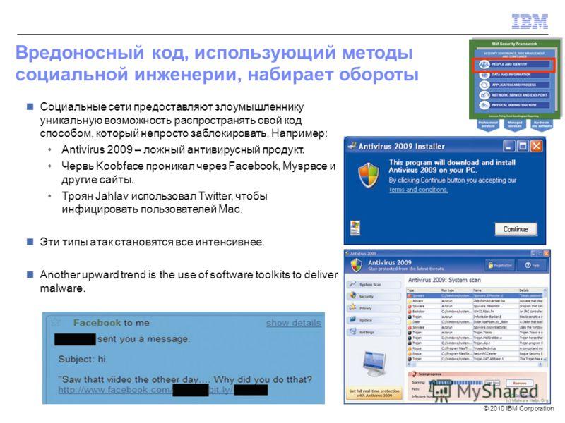 © 2010 IBM Corporation Вредоносный код, использующий методы социальной инженерии, набирает обороты Социальные сети предоставляют злоумышленнику уникальную возможность распространять свой код способом, который непросто заблокировать. Например: Antivir