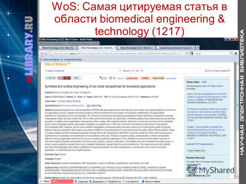 WoS: Самая цитируемая статья в области biomedical engineering & technology (1217)