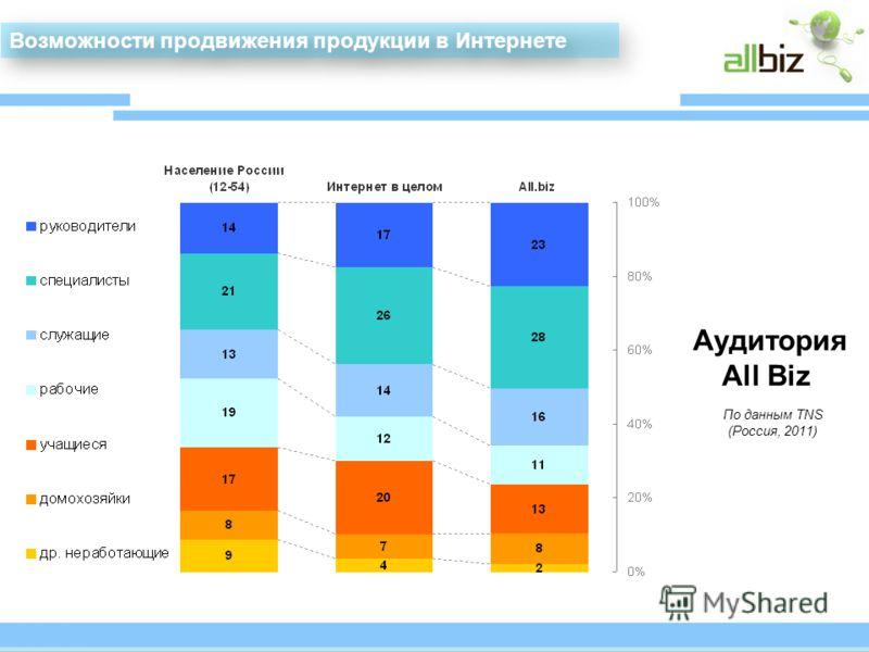 Аудитория All Biz По данным TNS (Россия, 2011) Возможности продвижения продукции в Интернете