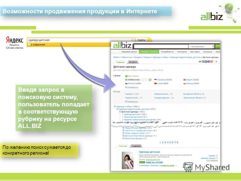 Введя запрос в поисковую систему, пользователь попадает в соответствующую рубрику на ресурсе ALL.BIZ Возможности продвижения продукции в Интернете По желанию поиск сужается до конкретного региона!