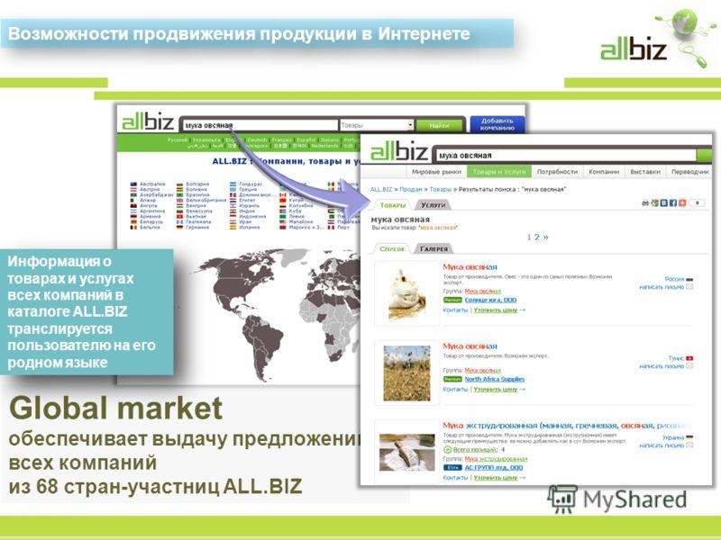 Global market обеспечивает выдачу предложений всех компаний из 68 стран-участниц ALL.BIZ Возможности продвижения продукции в Интернете Информация о товарах и услугах всех компаний в каталоге ALL.BIZ транслируется пользователю на его родном языке