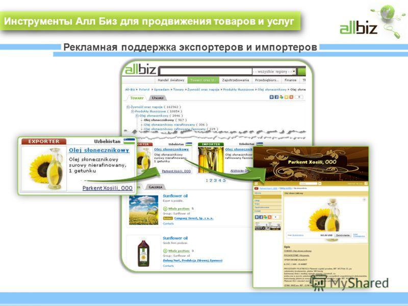 Рекламная поддержка экспортеров и импортеров Инструменты Алл Биз для продвижения товаров и услуг