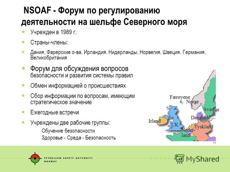 11 NSOAF - Форум по регулированию деятельности на шельфе Северного моря Учрежден в 1989 г. Страны-члены: Дания, Фарерские о-ва, Ирландия, Нидерланды, Норвегия, Швеция, Германия, Великобритания Форум для обсуждения вопросов безопасности и развития сис