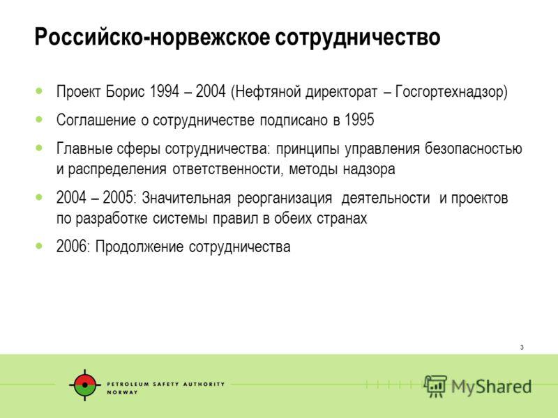 3 Российско-норвежское сотрудничество Проект Борис 1994 – 2004 (Нефтяной директорат – Госгортехнадзор) Соглашение о сотрудничестве подписано в 1995 Главные сферы сотрудничества: принципы управления безопасностью и распределения ответственности, метод
