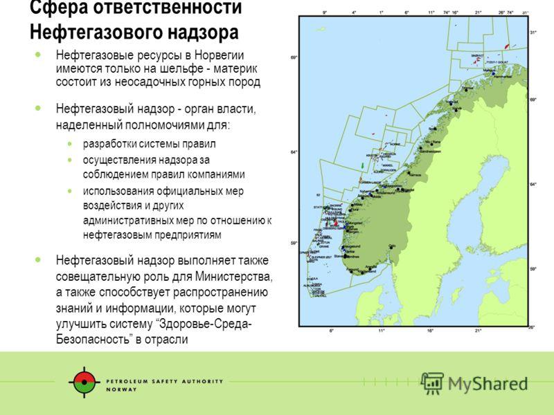 5 Сфера ответственности Нефтегазового надзора Нефтегазовые ресурсы в Норвегии имеются только на шельфе - материк состоит из неосадочных горных пород Нефтегазовый надзор - орган власти, наделенный полномочиями для: разработки системы правил осуществле