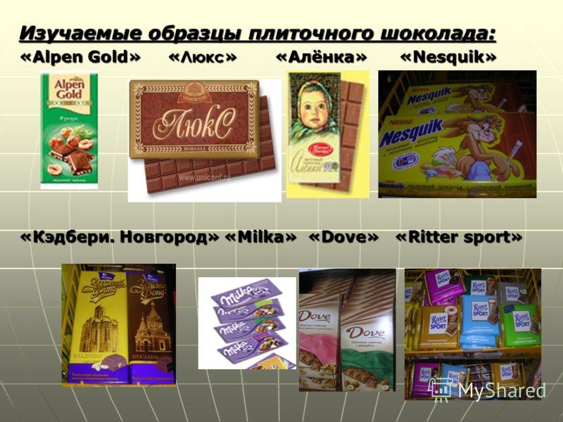 Изучаемые образцы плиточного шоколада: «Alpen Gold» « Люкс » «Алёнка» «Nesquik» «Кэдбери. Новгород» «Milka» «Dove» «Ritter sport»