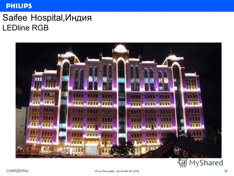 CONFIDENTIAL Инна Лякишева, November 08, 2006 34 Saifee Hospital,Индия LEDline RGB