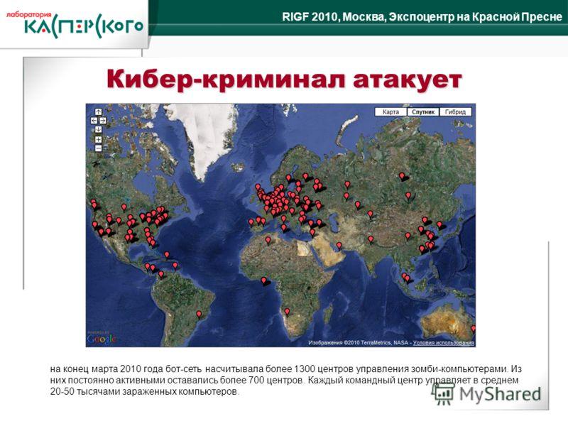 RIGF 2010, Москва, Экспоцентр на Красной Пресне Кибер-криминал атакует на конец марта 2010 года бот-сеть насчитывала более 1300 центров управления зомби-компьютерами. Из них постоянно активными оставались более 700 центров. Каждый командный центр упр
