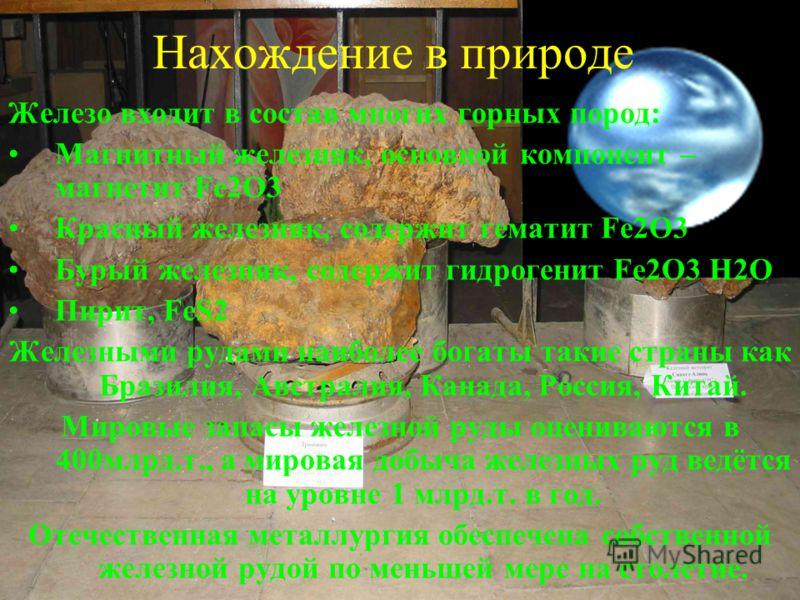Нахождение в природе Железо входит в состав многих горных пород: Магнитный железняк, основной компонент – магнетит Fe2O3 Красный железняк, содержит гематит Fe2O3 Бурый железняк, содержит гидрогенит Fe2O3 H2O Пирит, FeS2 Железными рудами наиболее бога