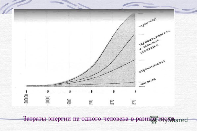 Затраты энергии на одного человека в разные эпохи