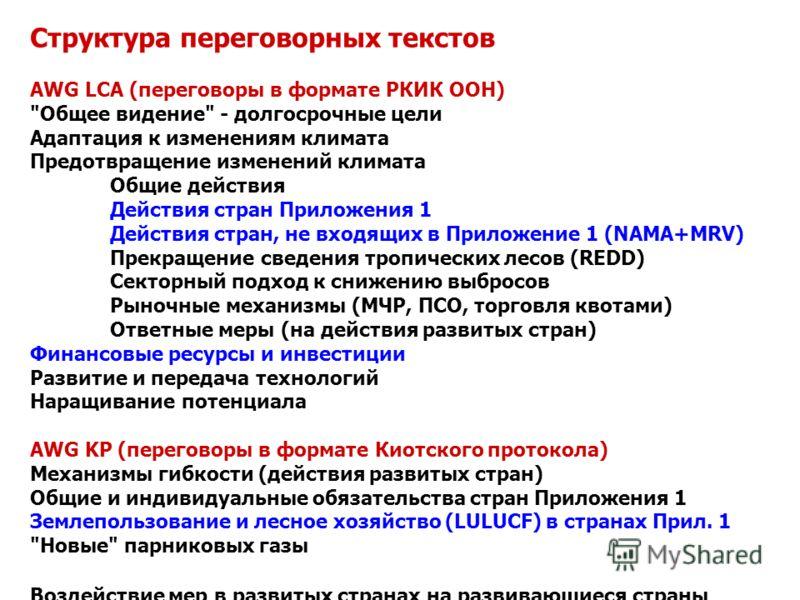 Структура переговорных текстов AWG LCA (переговоры в формате РКИК ООН)