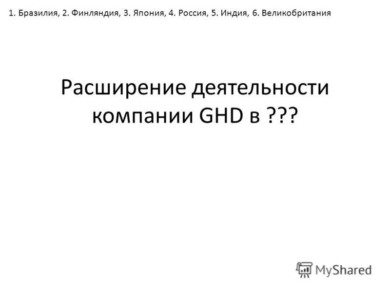 Расширение деятельности компании GHD в ??? 1. Бразилия, 2. Финляндия, 3. Япония, 4. Россия, 5. Индия, 6. Великобритания