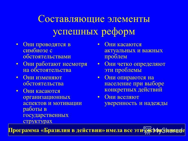 Составляющие элементы успешных реформ Они проводятся в симбиозе с обстоятельствами Они работают несмотря на обстоятельства Они изменяют обстоятельства Они касаются организационных аспектов и мотивации работы в государственных структурах Они касаются