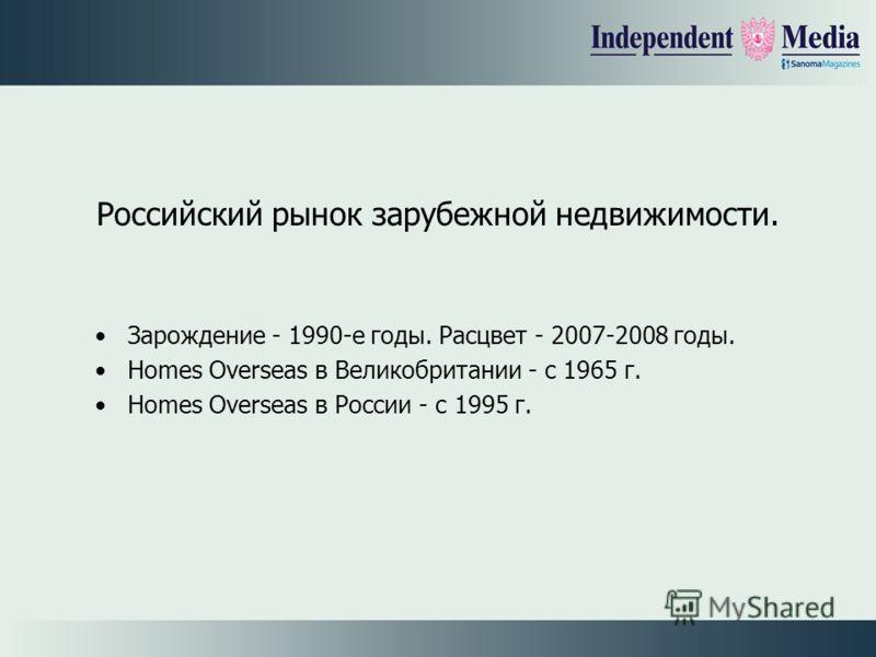 Российский рынок зарубежной недвижимости. Зарождение - 1990-е годы. Расцвет - 2007-2008 годы. Homes Overseas в Великобритании - с 1965 г. Homes Overseas в России - с 1995 г.