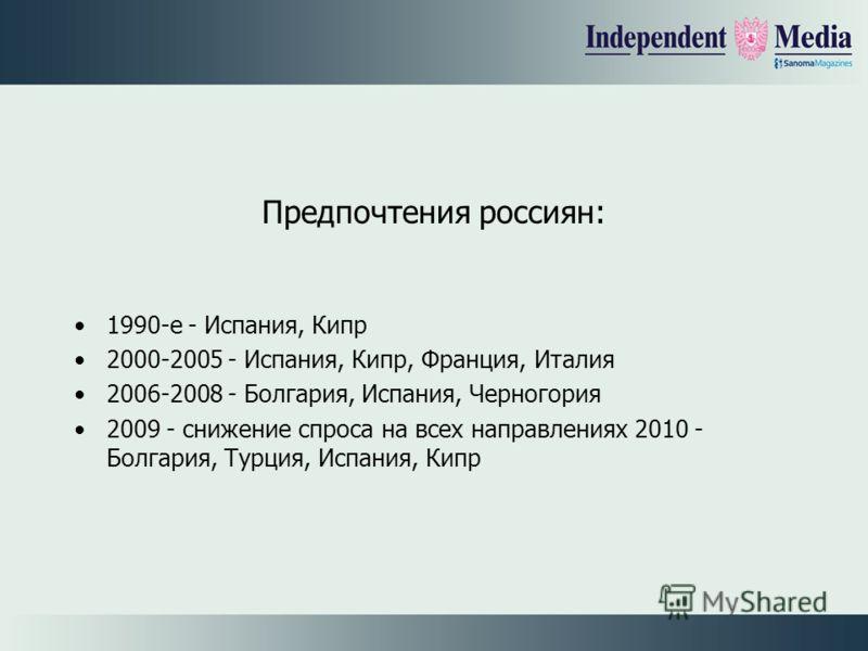Предпочтения россиян: 1990-е - Испания, Кипр 2000-2005 - Испания, Кипр, Франция, Италия 2006-2008 - Болгария, Испания, Черногория 2009 - снижение спроса на всех направлениях 2010 - Болгария, Турция, Испания, Кипр