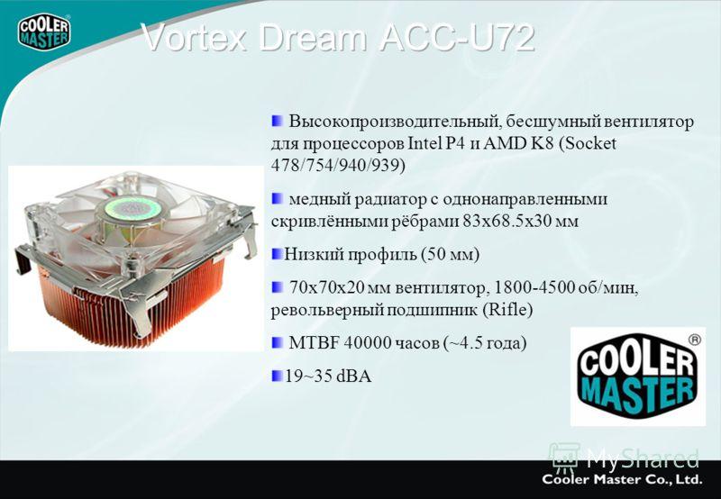 Высокопроизводительный, бесшумный вентилятор для процессоров Intel P4 и AMD K8 (Socket 478/754/940/939) медный радиатор с однонаправленными скривлёнными рёбрами 83x68.5x30 мм Низкий профиль (50 мм) 70x70x20 мм вентилятор, 1800-4500 об/мин, револьверн