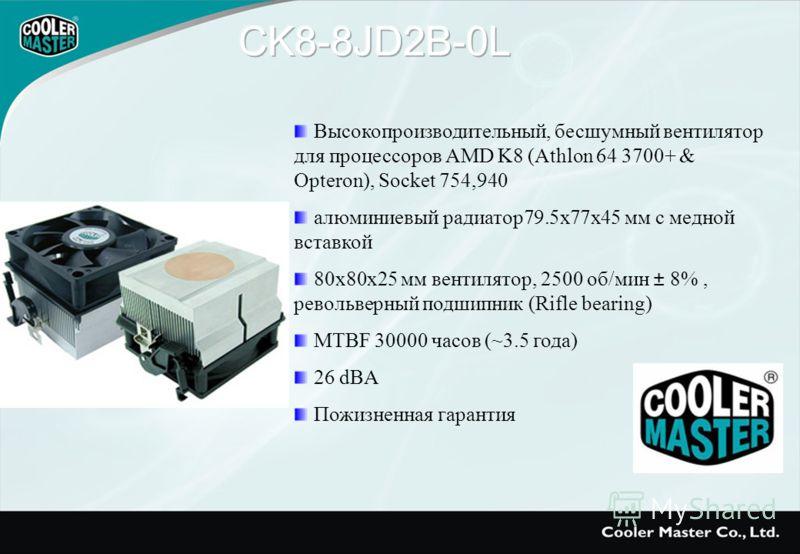 Высокопроизводительный, бесшумный вентилятор для процессоров AMD K8 (Athlon 64 3700+ & Opteron), Socket 754,940 алюминиевый радиатор79.5х77х45 мм с медной вставкой 80х80х25 мм вентилятор, 2500 об/мин ± 8%, револьверный подшипник (Rifle bearing) MTBF