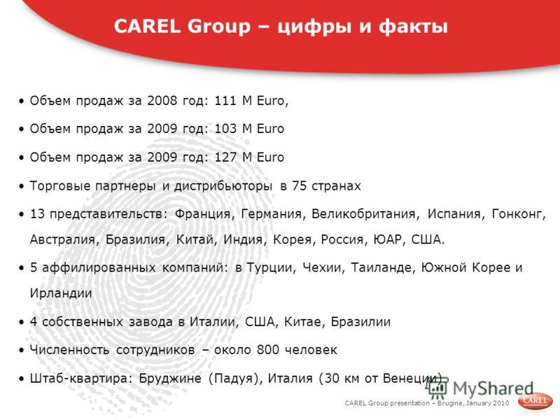 CAREL Group presentation – Brugine, January 2010 Объем продаж за 2008 год: 111 M Euro, Объем продаж за 2009 год: 103 М Euro Объем продаж за 2009 год: 127 М Euro Торговые партнеры и дистрибьюторы в 75 странах 13 представительств: Франция, Германия, Ве