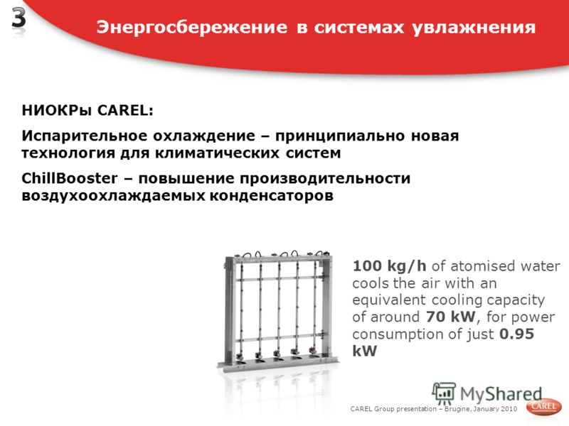 CAREL Group presentation – Brugine, January 2010 100 kg/h of atomised water cools the air with an equivalent cooling capacity of around 70 kW, for power consumption of just 0.95 kW Энергосбережение в системах увлажнения НИОКРы CAREL: Испарительное ох
