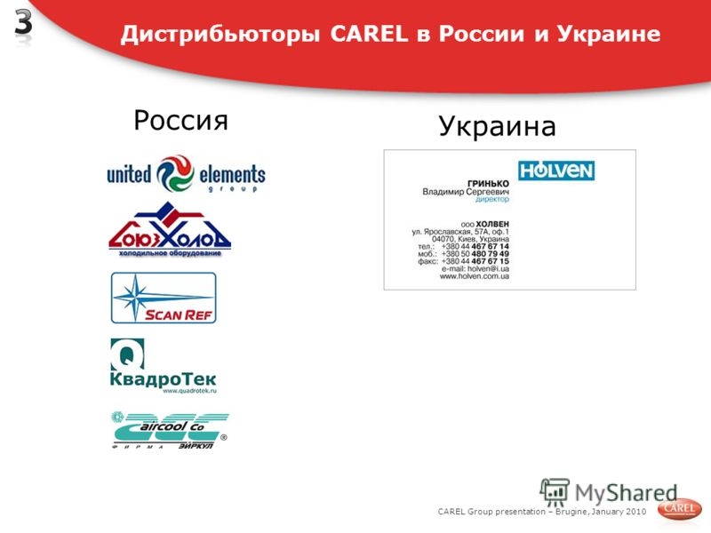 CAREL Group presentation – Brugine, January 2010 Дистрибьюторы CAREL в России и Украине Россия Украина