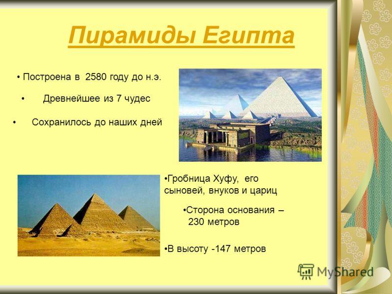 Пирамиды Египта Построена в 2580 году до н.э. Древнейшее из 7 чудес Сохранилось до наших дней Гробница Хуфу, его сыновей, внуков и цариц Сторона основания – 230 метров В высоту -147 метров