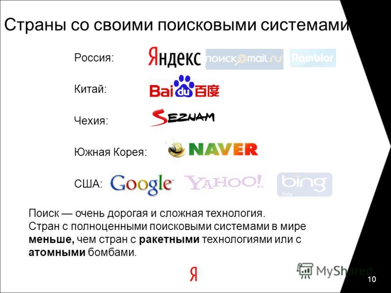 10 Россия: Китай: Чехия: Южная Корея: США: Страны со своими поисковыми системами Поиск очень дорогая и сложная технология. Стран с полноценными поисковыми системами в мире меньше, чем стран с ракетными технологиями или с атомными бомбами.
