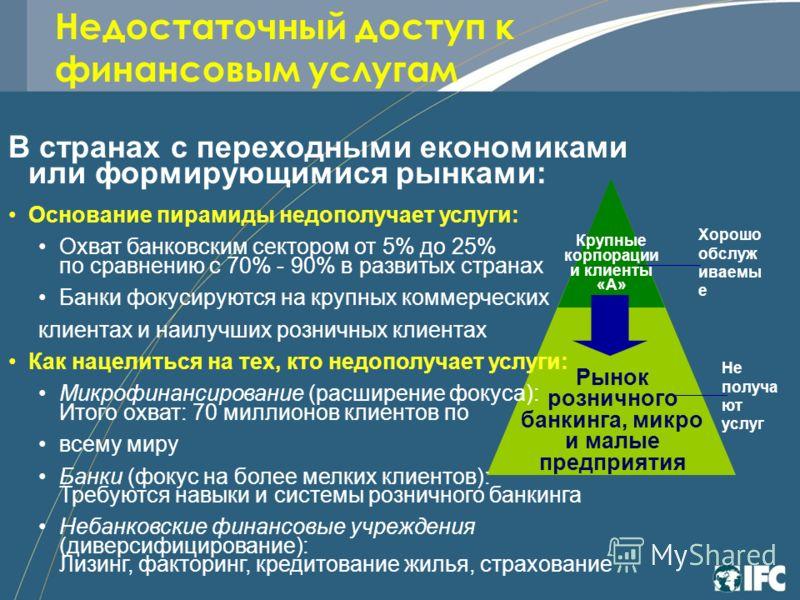 Недостаточный доступ к финансовым услугам Рынок розничного банкинга, микро и малые предприятия Крупные корпорации и клиенты «А» В странах с переходными економиками или формирующимися рынками: Основание пирамиды недополучает услуги: Охват банковским с