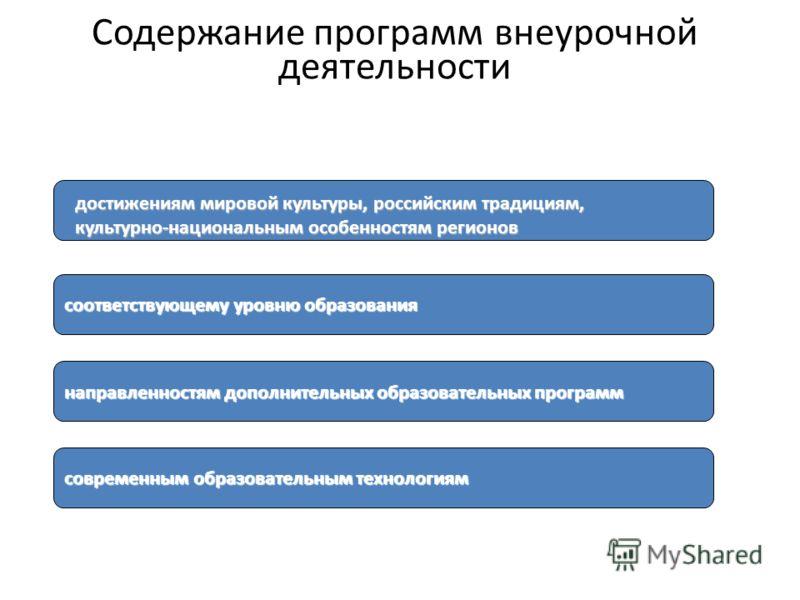 соответствующему уровню образования направленностям дополнительных образовательных программ современным образовательным технологиям достижениям мировой культуры, российским традициям, культурно-национальным особенностям регионов Содержание программ в