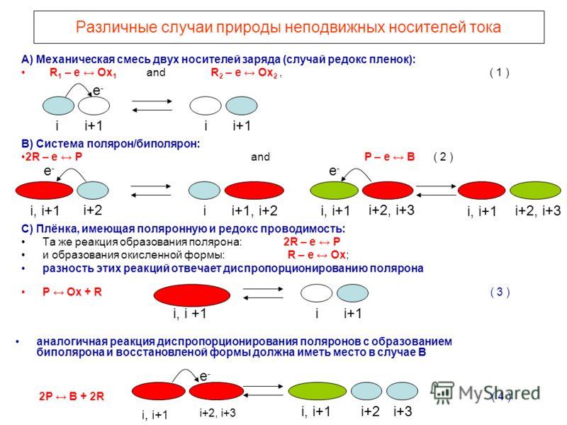 Различные случаи природы неподвижных носителей тока C) Плёнка, имеющая поляронную и редокс проводимость: Та же реакция образования полярона: 2R – e P и образования окисленной формы: R – e Ox; разность этих реакций отвечает диспропорционированию поляр