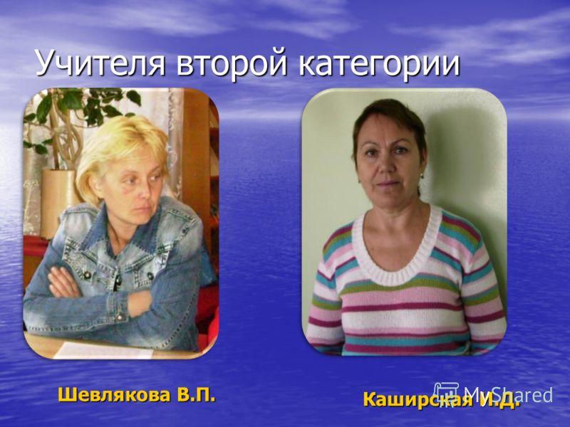 Учителя второй категории Шевлякова В.П. Каширская И.Д.
