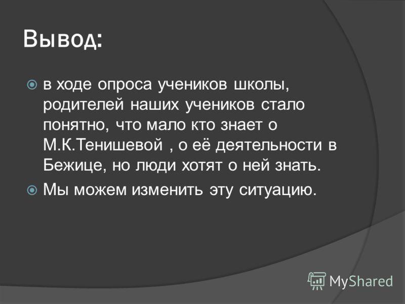 Вывод: в ходе опроса учеников школы, родителей наших учеников стало понятно, что мало кто знает о М.К.Тенишевой, о её деятельности в Бежице, но люди хотят о ней знать. Мы можем изменить эту ситуацию.
